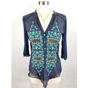 Anthropologie Tiny Blue Embroidered Pullover Top S
